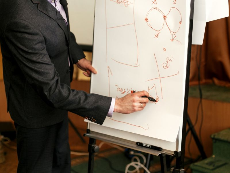 elegant speaker lecturer drawing charts at white board